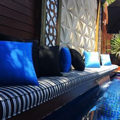 Let's make this in ONE ! Our 6 METER Long outdoor cushion that lives permanently by the pool.  Premium outdoor cushions. MADE IN MELBOURNE  #custommade #cushions ##outdoorliving #pool #poolside #outdoorlife #craftmanship #bespoke #melbournemade #exterior #exteriordesign #stripe #blue #black #australianmade #research #melbourne #australia #upholstery #madeinmelbourne #home #backyard #lifestyle #work