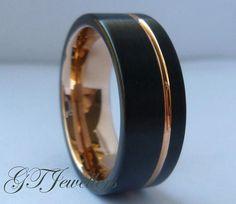 Black Tungsten & Rose Gold Wedding Band, Brushed Tungsten Ring, Wedding Ring, Women Men, His Hers, Anniversary Ring, Engagement Band TR80