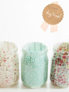 votives from baby food jars with glued fabric inside