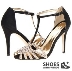 Madden Girl - Dimitrus black & beige heel with diamantes
