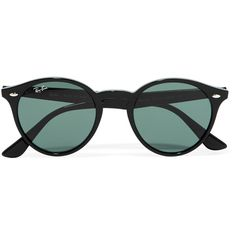 Ray-Ban Round-frame acetate sunglasses ($165) ❤ liked on Polyvore featuring accessories, eyewear, sunglasses, glasses, occhiali, black, clear glasses, ray ban sunnies, acetate glasses and lightweight glasses