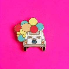Fall in love with the Love Bug pin by Lulu Bloo except this is a fiat 500 not a VW bug! Pins On Denim Jacket, Baby Jewelry, Badge Design, Cool Pins, Pin And Patches, Love Bugs, Pin Badges, Lapel Pins, Pin Collection