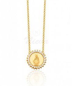COLAR NOSSA SENHORA CRAVEJADO OURO #colar #nossasenhora #ouro #cravejado #protecao #religiosa #semijoia #nievastore