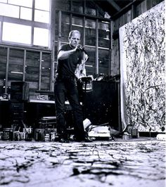 About Jackson Pollock (French site, including Video of the artist) Action Painting, Drip Painting, Pollock Paintings, Picasso Paintings, Jackson Pollock Art, Wyoming, Monet, Atelier Photo, Lee Krasner