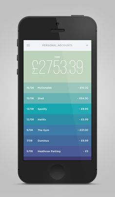 Money iPhone App Concept by UltraLinx. Inspired by Clear.