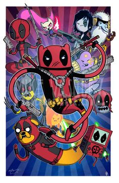 Deadpool Time (Adventure Time, Deadpool Corps  X-force Cross Over) 11x17 Print on Etsy, $20.00