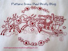 Redwork Embroidery Happiness is Cross Stitching : Free Christmas Stitchery patterns and a tutorial for a halloween cross stitched scissor fob Christmas Embroidery Patterns, Embroidery Patterns Free, Embroidery Applique, Cross Stitch Embroidery, Machine Embroidery, Stitch Patterns, Embroidery Designs, Red Work Embroidery, Geometric Embroidery