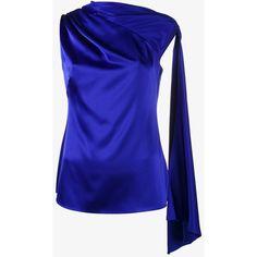 Osman adena sleeveless scarf top (£450) ❤ liked on Polyvore featuring tops, blue, osman, blue sleeveless top, blue top, no sleeve tops and sleeveless tops