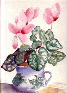Pink Flower Watercolor Art Cards, Cyclamen Plant Still Life Painting, Blank Notecard Set