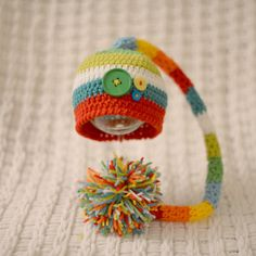 Newborn Crochet Knit Baby Elf Pixie Hat in Multi Color with Large Pom Pom---Photography Prop on Etsy, $26.97 CAD