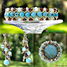 Turquoise and Swarovski Crystal in Mocha and Crystal.  14kt Gold magnet closure with catch chain.  All made to fit you specifically.  Matching Earrings and necklace.  All hand made in the USA.