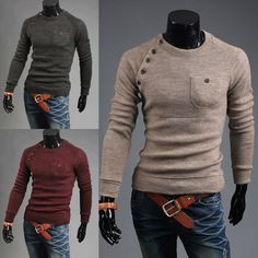 Mens Slim Fit Pullover Knit Sweater Crew Neck Coat Long Sleeve knitwear Tops New #unbranded #Jumpers