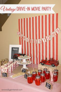 Vintage Drive-In Movie Party!  So many fun details! Love the red and white theme!  The kids really got into the tickets, treats, and having their own individual box cars!