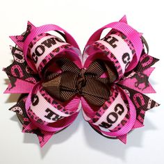 Cowgirl Fuchsia Hot Pink and Brown Stacked Boutique Hair Bow