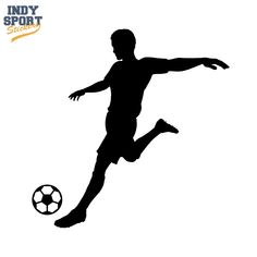 Soccer Player Silhouette Kicking Ball Decal or Sticker for your car, window, laptop or any other flat surface.