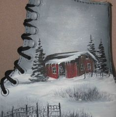 Hand Painted Ice Skate Winter Scene Snowing by GiftArtPersonalized