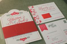 red and gray letterpress #wedding #invitations