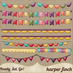 """Free Digital Scrapbook Element Pack: """"Ready, Set, Go"""" Banners by Harper Finch at Deviant Art. ✿ Join 6,800 others. Follow the Free Digital Scrapbook board for daily freebies. Visit GrannyEnchanted.Com for thousands of digital scrapbook freebies. ✿ """"Free Digital Scrapbook Board"""" URL: https://www.pinterest.com/grannyenchanted/free-digital-scrapbook/"""