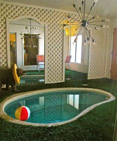 This is my favorite room in my vintage las vegas house. its a TINY INDOOR POOL! This is my favorite room in my vintage las vegas house. its a TINY INDOOR POOL! I installed the fau Retro Interior Design, Interior Colors, Indoor Swimming Pools, Vintage Interiors, Retro Home Decor, 1950s Decor, Pool Designs, Architecture, Interior And Exterior
