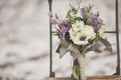 The bouquet was a perfectly untamed mix of anemone, dusty miller, lavender, scabiosa, stock and ranunculus. florals by Brocade Designs | Nashville, TN | #brocadedesigns photo by Jenny Cruger
