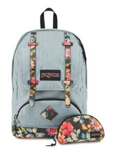 The new JanSport Baughman Backpack in Multi Garden Delight featuring a faux leather bottom and a front zippered pocket with removable organizer.