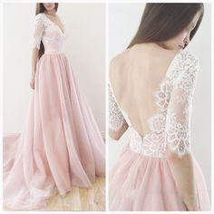 A line Deep V-back Half Sleeves Blush Wedding Dress