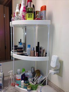 wood & iron kitchen bathroom counter corner shelf organizer spice