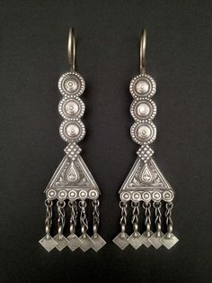 Afghanistan, Pashtuns earrings, silver, 4 1:2 inches long