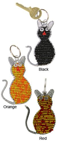 African Beaded Cat Keychain at The Hunger Site