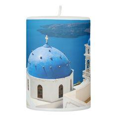 Church on the Island of Santorini, Greece Pillar Candle