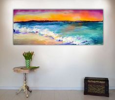 Buy New Horizon 68 - 150x60 cm, Large Modern Ready to Hang Abstract Landscape, Seascape, Sunrise, Sunset, Abstract Painting Art, Acrylic painting by Soos Roxana Gabriela on Artfinder. Discover thousands of other original paintings, prints, sculptures and photography from independent artists.