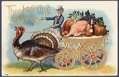 Thanksgiving Uncle Sam Drives The Turkey Cart Of Plenty
