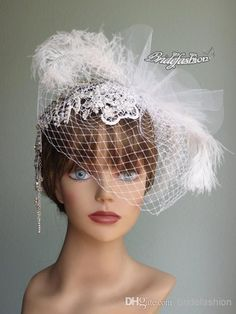 Charming! Ivory Bridal Veils Fascinator Pearl Flower Feather Lace Wedding Bridal Hats Birdcage Veil High Quality Hair Accessories
