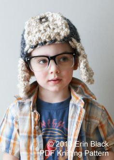Knitting PATTERN - Chunky Bomber Hat in Toddler, Child and Adult Sizes (hat010)