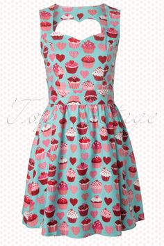 Retrolicious - 60s I Heart Cupcakes Dress in Blue