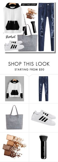"""romwe Letter Embroidered Kangaroo Pocket Color Block Hoodie"" by edita-n ❤ liked on Polyvore featuring Sole Society, adidas, Maybelline and Marc Jacobs"
