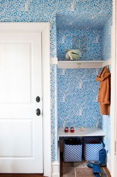 """""""L'Arbre de Matisse"""" Wallpaper by Quadrille in Sky Blue Colourway, Photographed by Courtney Apple - foodogblog.com"""