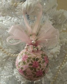 Shabby Pink Cottage Roses Hand painted Glass Holiday Ornament