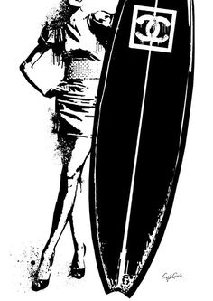 NO.856 A1 ポスターフレームセット シャネル × サーフボード CHANEL × SURF BOARD モチーフ パロディアート セレブ インテリア ポップアート オマージュアート ブランドオマージュ   MakeSenseLLC