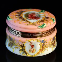 ANTIQUE VICTORIAN JEWELRY BOX POWDER JAR OPALINE ENAMELED ART GLASS HINGED LID