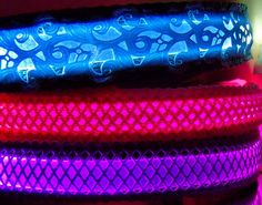Lace LED dog collar lights up in dark blue pink white red