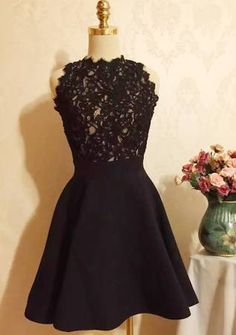 Black Patchwork Lace Pleated Bridesmaid Dresses Cute Party Dresses Homecoming Lace Dress Sweet Mini Dress