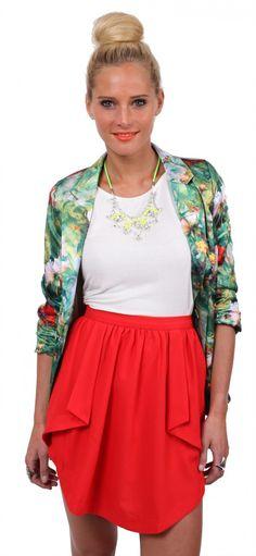 Red Petal Skirt - Beginning Boutique