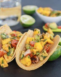 Mahi Mahi Fish Tacos with Chipotle Mango Salsa