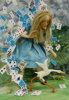 """Alice with Falling Cards - Illustration by Nancy Wiley for """"Alice's Adventures in Wonderland"""" book. Lewis Carroll, Alice In Wonderland Doll, Alice In Wonderland Illustrations, Alice Liddell, Alice Madness, Postcard Art, Halloween Displays, Adventures In Wonderland, Through The Looking Glass"""