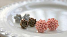 Little Flowers  Set of 3 tiny earrings by LazyLightningArt on Etsy, $10.00