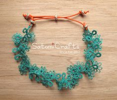 Bracelet, Tatting Leaves_Single Picot#2 (Blue Green)