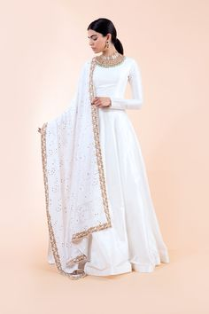 Shop this look in the colour Pearl! Indian Bridal Outfits, Indian Designer Outfits, Pakistani Outfits, Pakistani Gowns, Pakistani Clothing, Pakistani Fashion Casual, Pakistani Bridal, Stylish Dresses, Fashion Dresses
