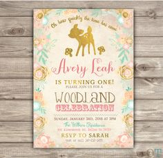 Gold Mint and Coral Dear Birthday Invitations Printable Invitations Floral mint gold pink forest Rustic woodland First birthday Fall NV610 by cardmint on Etsy https://www.etsy.com/listing/253248836/gold-mint-and-coral-dear-birthday