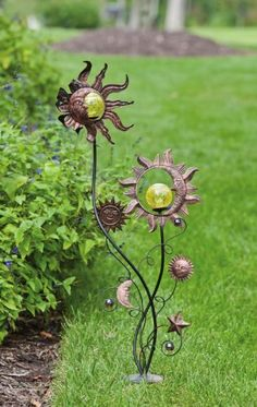 Stakes with Solar ball detail, Sun and Moon Garden Stake,Metal and Glass,15.75x8x39.75 Inches . $49.99